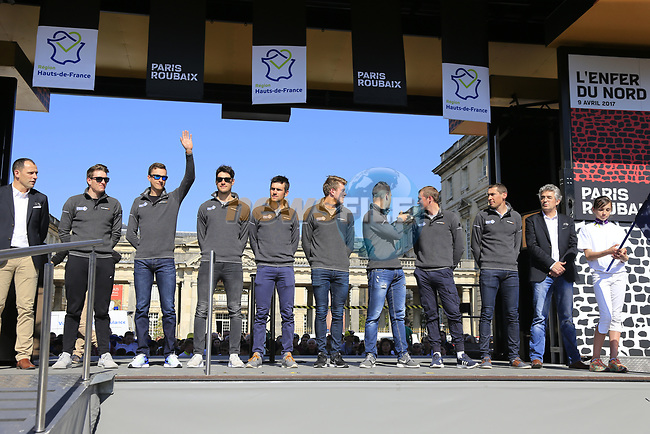 FDJ at the Team Presentation for the upcoming 115th edition of the Paris-Roubaix 2017 race held in Compiegne, France. 8th April 2017.<br /> Picture: Eoin Clarke | Cyclefile<br /> <br /> <br /> All photos usage must carry mandatory copyright credit (&copy; Cyclefile | Eoin Clarke)