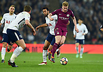 Kevin De Bruyne of Manchester City is challenged by Mousa Dembele of Tottenham Hotspur during the premier league match at the Wembley Stadium, London. Picture date 14th April 2018. Picture credit should read: Robin Parker/Sportimage