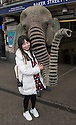 London, UK. 25.04.2016. Oona the elephant arrives at Baker Street Station as the Box Office at Regent's Park Open Air Theatre opens ahead of the 2016 season. Photograph © Jane Hobson.