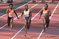 Dina ASHER-SMITH (centre) of GBR on her way to a new British record during the Sainsburys Anniversary Games at the Olympic Park, London, England on 25 July 2015. Photo by Andy Rowland.