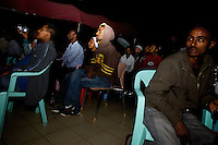 a large crowd gathers to watch the inauguration of President Obama at the Obama Cafe In Amhara's regional capital Bahir Dar on President Barack Obama's inauguration day, Tuesday January 20 2009...