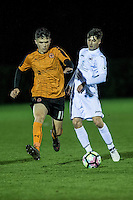 16 December 2016<br /> Pictured L-R:  Ryan Giles of Wolverhampton Wanderers against Mason Jones Thomas of Swansea <br /> Re: Swansea City U18s v Wolverhampton Wanderers U18s, 3rd Round FA youth Cup Match at the Landore Training Facility, Swansea, Wales, UK