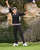 24 MAR 13  Beatriz Ricari celebrates on the 18th green at the conclusion of Sundays Playoff at the Final Round of The KIA Classic at Aviara Golf Club in Carlsbad, California. (photo:  kenneth e.dennis / kendennisphoto.com) www.golffile.ie