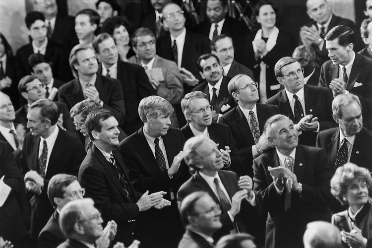 During President Bill Clinton State of the Union Address, he introduced Kevin Jett, a young New York Detective. All members stood and applauded for him on Jan. 25, 1994. (Photo by Maureen Keating/CQ Roll Call via Getty Images)