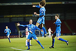 St Johnstone v Hamilton Accies....02.02.11  .Stevie May celebrates his first senior goal for saints with Chris Millar and Murray Davidson.Picture by Graeme Hart..Copyright Perthshire Picture Agency.Tel: 01738 623350  Mobile: 07990 594431