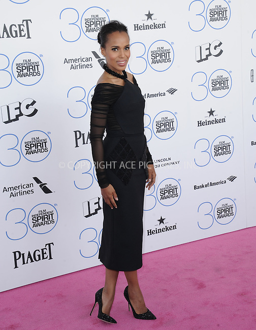 WWW.ACEPIXS.COM<br /> <br /> February 21 2015, LA<br /> <br /> Kerry Washington arriving at the 2015 Film Independent Spirit Awards at Santa Monica Beach on February 21, 2015 in Santa Monica, California.<br /> <br /> By Line: Peter West/ACE Pictures<br /> <br /> <br /> ACE Pictures, Inc.<br /> tel: 646 769 0430<br /> Email: info@acepixs.com<br /> www.acepixs.com
