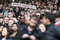 Swansea fans before during the Barclays Premier League match between Leicester City and Swansea City played at The King Power Stadium, Leicester on April 24th 2016