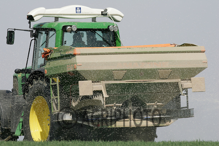John Deere tractor applying nitrogen to Winter Wheat