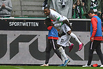06.10.2019, Borussia-Park - Stadion, Moenchengladbach, GER, DFL, 1. BL, Borussia Moenchengladbach vs. FC Augsburg, DFL regulations prohibit any use of photographs as image sequences and/or quasi-video<br /> <br /> im Bild Alassane Plea (#14, Borussia Moenchengladbach) jubelt nach seinem Tor zum 4:0 mit Marcus Thuram  (#10, Borussia Moenchengladbach) <br /> <br /> Foto © nordphoto/Mauelshagen