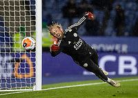 Leicester City's Kasper Schmeichel warming up before the match <br /> <br /> Photographer Andrew Kearns/CameraSport<br /> <br /> The Premier League - Leicester City v Aston Villa - Monday 9th March 2020 - King Power Stadium - Leicester<br /> <br /> World Copyright © 2020 CameraSport. All rights reserved. 43 Linden Ave. Countesthorpe. Leicester. England. LE8 5PG - Tel: +44 (0) 116 277 4147 - admin@camerasport.com - www.camerasport.com