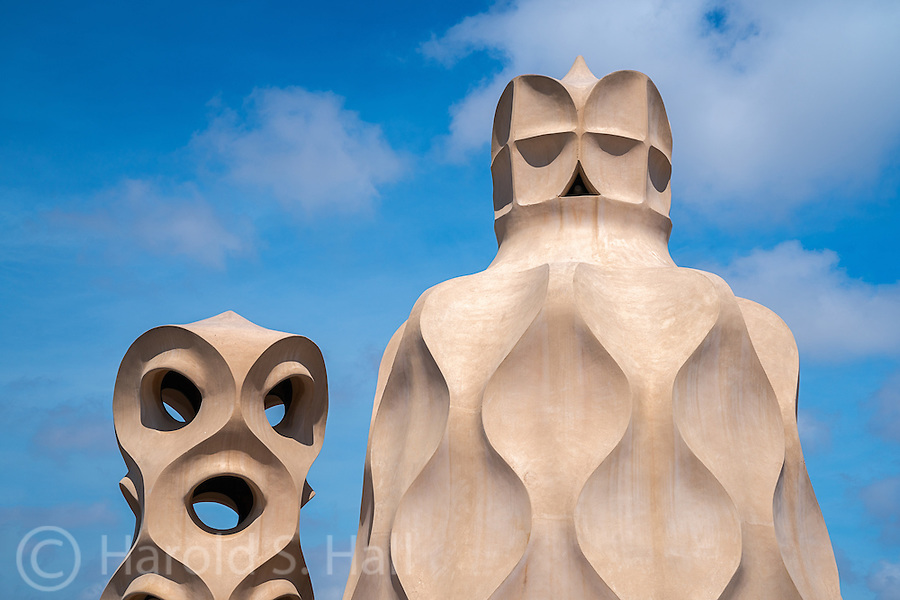 This is Casa Mila, a seven story apartment building in Barcelona Spain, designed by Antoni Gaudi in 1906.  Gaudi is where we derive the word &lsquo;gaudy&rsquo; but I do not think that pertains to his wonderful architectural designs.  He often  used the ocean and nature as his inspiration.  You will not find a straight line or 90 degree angle in the entire building.  <br />