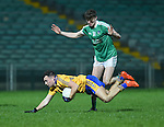 Eimhin Courtney of Clare  in action against Kieran Daly of Limerick during the Mc Nulty Cup U-21 final at The Gaelic Grounds. Photograph by John Kelly.