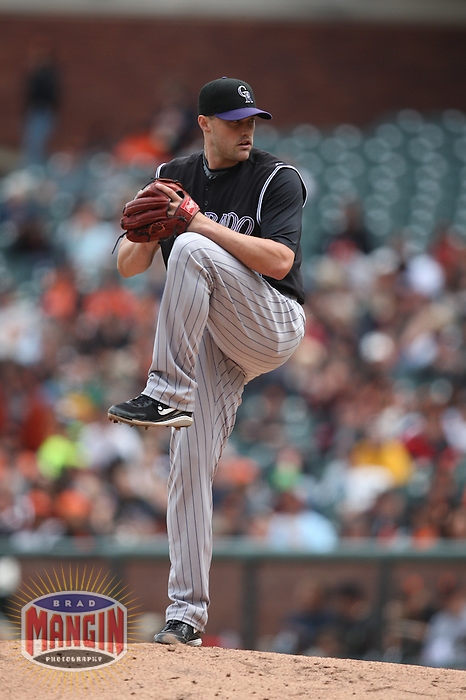 SAN FRANCISCO - MAY 3:  Matt Belisle #34 of the Colorado Rockies pitches against the San Francisco Giants during the game at AT&T Park on May 3, 2009 in San Francisco, California. Photo by Brad Mangin