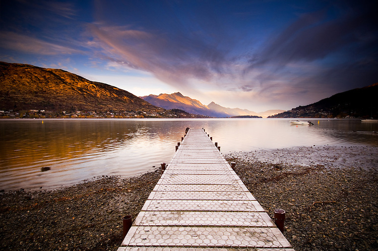 Sunrise, Lake Wakatipu from Frankton, Queenstown, South Island, New Zealand - stock photo, canvas, fine art print
