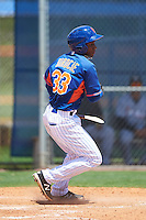 GCL Mets center fielder Anthony Dirocie (33) breaks his bat on a foul ball during a game against the GCL Marlins on August 12, 2016 at St. Lucie Sports Complex in St. Lucie, Florida.  GCL Marlins defeated GCL Mets 8-1.  (Mike Janes/Four Seam Images)