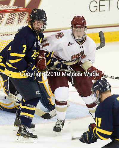 Karl Stollery (Merrimack - 7), Pat Mullane (BC - 11) - The Merrimack College Warriors visited the Boston College Eagles on Friday, October 29, 2010, at Conte Forum in Chestnut Hill, MA.