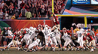 With 35 seconds left in the 2006 FedEx Orange Bowl Game, Penn State's Kevin Kelly attempted a 29 yard field goal that would have allowed Penn State to edge out Florida State.  Kelly's kick drifted wide left, sending the game into overtime.  Kelly ultimately redeemed himself with a 29 yard field goal in the third overtime to give Penn State the win, 26-23.