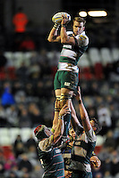 Tom Croft of Leicester Tigers wins the ball at a lineout. Aviva Premiership match, between Leicester Tigers and Bath Rugby on November 29, 2015 at Welford Road in Leicester, England. Photo by: Patrick Khachfe / Onside Images