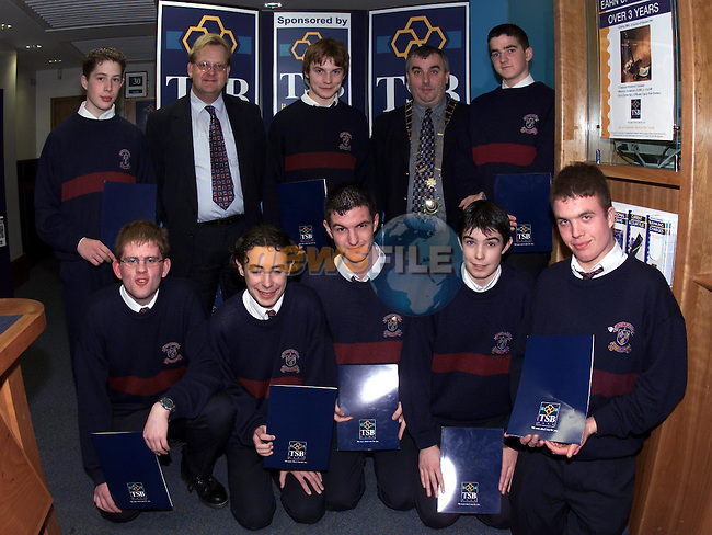 Front Paul Ferris, Michael Dowling, Daryl Mongan, Eoin Barry and Christopher Clarke. Back Owen Donnelly John Finamore Asst TSB Bank Manager, Paul Dillon, Mayor  Sean Collins and Dermot Lynn of St Marys School Bank wioth their certificates..Pic Fran Caffrey Newsfile..(Pictures supplied by TSB Bank).Camera:   DCS620C.Serial #: K620C-01974.Width:    1728.Height:   1152.Date:  5/12/99.Time:   17:24:04.DCS6XX Image.FW Ver:   1.9.6.TIFF Image.Look:   Product.Tagged.Counter:    [499].Shutter:  1/40.Aperture:  f8.0.ISO Speed:  200.Max Aperture:  f1.8.Min Aperture:  f22.Focal Length:  50.Exposure Mode:  Manual (M).Meter Mode:  Color Matrix.Drive Mode:  Continuous High (CH).Focus Mode:  Continuous (AF-C).Focus Point:  Center.Flash Mode:  Normal Sync.Compensation:  +0.0.Flash Compensation:  +0.0.Self Timer Time:  10s.White balance: Auto (Flash).Time: 17:24:04.751.