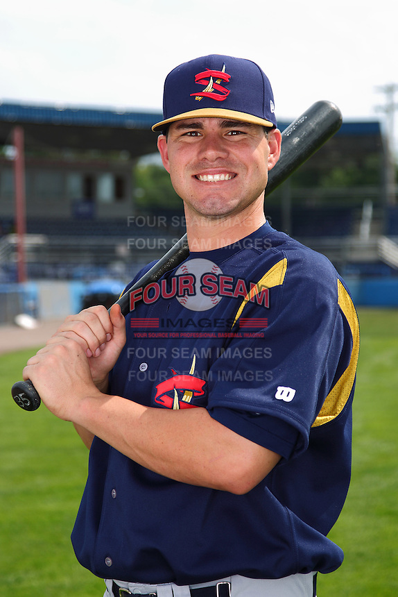 State College Spikes first baseman Billy Nowlin #39 poses for a photo before a game against the Batavia Muckdogs at Dwyer Stadium on July 7, 2011 in Batavia, New York.  Batavia defeated State College 16-3.  (Mike Janes/Four Seam Images)