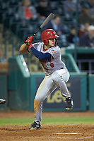 KJ Harrison (8) of the Hagerstown Suns at bat against the Greensboro Grasshoppers at First National Bank Field on April 6, 2019 in Greensboro, North Carolina. The Suns defeated the Grasshoppers 6-5. (Brian Westerholt/Four Seam Images)
