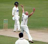 Darren Stevens of Kent celebrates after taking the wicket of Jeremy Lawlor during the Specsavers County Championship division two game between Kent and Glamorgan (day 3) at the St Lawrence Ground, Canterbury, on Sept 20, 2018