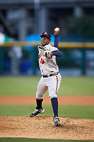 Gwinnett Braves relief pitcher Akeel Morris (26) delivers a warmup pitch during a game against the Buffalo Bisons on August 19, 2017 at Coca-Cola Field in Buffalo, New York.  Gwinnett defeated Buffalo 1-0.  (Mike Janes/Four Seam Images)