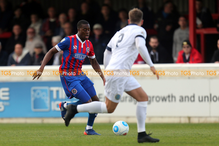 Andy Halls of Macclesfield Town and Fejiri Okenabirhie of Dagenham during Dagenham & Redbridge vs Macclesfield Town, Vanarama National League Football at the Chigwell Construction Stadium on 22nd October 2016