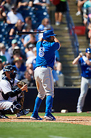 Toronto Blue Jays designated hitter Kendrys Morales (8) at bat during a Grapefruit League Spring Training game against the New York Yankees on February 25, 2019 at George M. Steinbrenner Field in Tampa, Florida.  Yankees defeated the Blue Jays 3-0.  (Mike Janes/Four Seam Images)