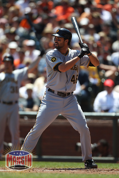 SAN FRANCISCO - AUGUST 10:  Garrett Jones #46 of the Pittsburgh Pirates bats against the San Francisco Giants during the game at AT&T Park on August 10, 2011 in San Francisco, California. Photo by Brad Mangin