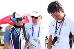 (L-R)  Yukie Nakayama,    Kilty Kevin,  Hiroyasu Nagashima (JPN), <br /> AUGUST 19, 2018 - Shooting - Clay : <br /> Women's Trap Day-1 Qualification <br /> at Jakabaring Sport Center Shooting Range <br /> during the 2018 Jakarta Palembang Asian Games <br /> in Palembang, Indonesia. <br /> (Photo by Yohei Osada/AFLO SPORT)