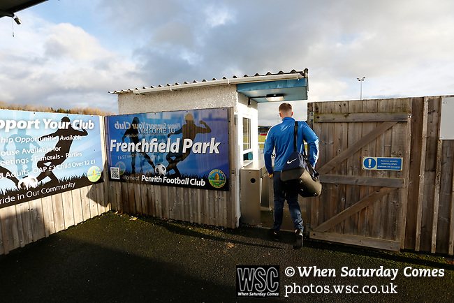 A Penrith player arrives at the ground. Penrith AFC V Hebburn Town, Northern League Division One, 22nd December 2018. Penrith are the only Cumbrian team in the Northern League. All the other teams are based across the Pennines in the north east.<br />