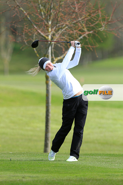 Linda Lundqvist (SWE) on the 13th tee during Round 1 of The Irish Girls Open Strokeplay Championship in Roganstown Golf Club on Saturday 18th April 2015.<br /> Picture:  Thos Caffrey / www.golffile.ie