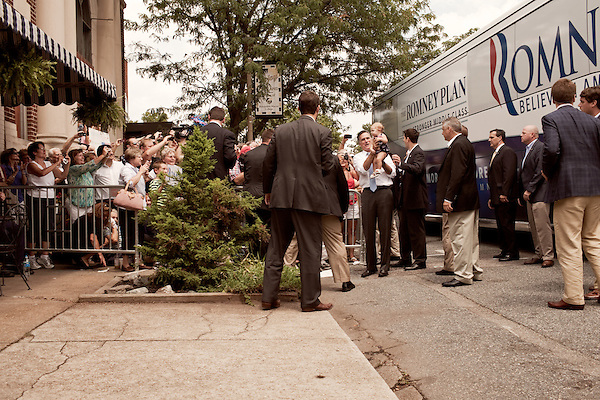 August 11, 2012. Ashland, VA.. Republican Presidential candidate Mitt Romney holds a baby during a stop at Homemades by Suzanne, a local restaurant and caterer..  Republican presidential candidate Mitt Romney campaigned through Virginia and North Carolina over the weekend, showing off his new vice presidential pick Paul Ryan. The candidates stopped at several small businesses highlighting their promise to champion the needs of business owners across the country.