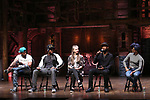 """Bryan Terrell Clark, J. Quinton Johnson, Eliza Ohman, Donald Webber and Syndee Winters from the 'Hamilton' cast during a Q & A before The Rockefeller Foundation and The Gilder Lehrman Institute of American History sponsored High School student #EduHam matinee performance of """"Hamilton"""" at the Richard Rodgers Theatre on 5/10/2017 in New York City."""