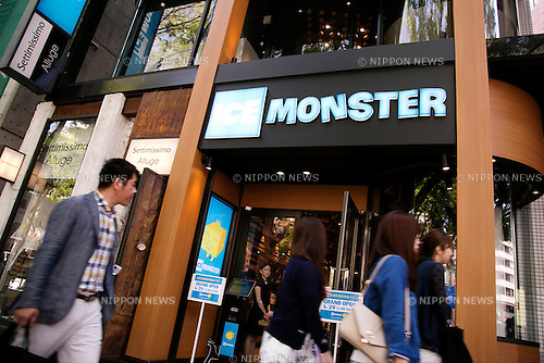 "Pedestrians pass next to the new shaved ice restaurant ""Ice Monster"" in Omotesando shopping area of Shibuya district on April 27, 2015, Tokyo, Japan. Ice Monster is a Taiwanese store, which sells giant shaved ice desserts. It was selected as one of the ""Best Dessert 10"" by CNN and ""Best Desserts Around the World"" by Travel and Leisure Magazine. The store will open to the public on April 29th. (Photo by Rodrigo Reyes Marin/AFLO)"