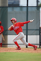 Philadelphia Phillies shortstop Dalton Guthrie (4) at bat during an Instructional League game against the Toronto Blue Jays on September 30, 2017 at the Carpenter Complex in Clearwater, Florida.  (Mike Janes/Four Seam Images)