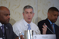 Washington, DC - January 22, 2014: Arne Duncan (c), U.S. Secretary of Education, provided key remarks to the the Education Reform Task Force during the 82nd Winter Meeting of the U.S. Conference of Mayors. (Photo by Don Baxter/Media Images International)