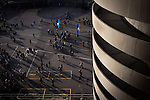 Home fans leaving the stadium at the Stadio Giuseppe Meazza, also known as the San Siro, after Internationale took on Cagliari in an Italian Serie A fixture. The match was overshadowed by a huge controversy that as Inter Ultras declared open warfare on captain Mauro Icardi for a chapter in his autobiography, accusing him of lying about an incident in 2015. Inter Milan lost the match 2-1, watched by a crowd of 43,757.