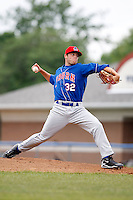 June 21, 2009:  Pitcher Scott Gracey of the Auburn Doubledays delivers a pitch during a game at Dwyer Stadium in Batavia, NY.  The Doubledays are the NY-Penn League Short-Season A affiliate of the Toronto Blue Jays.  Photo by:  Mike Janes/Four Seam Images