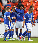 Ross Barkley celebrates his goal for Everton with Marouane Fellani