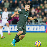 Sergio Aguero of Manchester City during the EPL - Premier League match between Swansea City and Manchester City at the Liberty Stadium, Swansea, Wales on 13 December 2017. Photo by Mark  Hawkins / PRiME Media Images.
