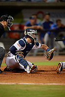 Pensacola Blue Wahoos catcher Caleb Hamilton (24) during a Southern League game against the Biloxi Shuckers on May 3, 2019 at Admiral Fetterman Field in Pensacola, Florida.  Pensacola defeated Biloxi 10-8.  (Mike Janes/Four Seam Images)