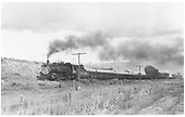 D&amp;RGW #483 leads a train of empty gons bound for Monarch through Poncha Junction.  #482 is pushing and barely visible.<br /> D&amp;RGW  Poncha Junction, CO  7/18/1953