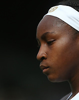 Cori Gauff (USA) during her match against Polona Hercog (SLO) in their Ladies' Singles Third Round match<br /> <br /> Photographer Rob Newell/CameraSport<br /> <br /> Wimbledon Lawn Tennis Championships - Day 5 - Friday 5th July 2019 -  All England Lawn Tennis and Croquet Club - Wimbledon - London - England<br /> <br /> World Copyright © 2019 CameraSport. All rights reserved. 43 Linden Ave. Countesthorpe. Leicester. England. LE8 5PG - Tel: +44 (0) 116 277 4147 - admin@camerasport.com - www.camerasport.com
