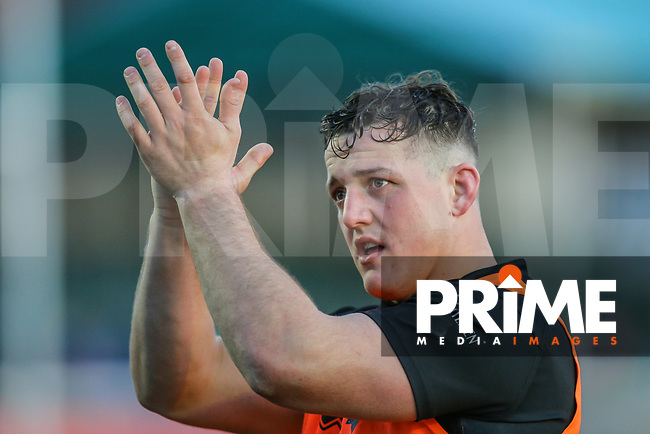 Matt Gee of London Broncos celebrates after the Betfred Super League match between London Broncos and Wakefield Trinity at Castle Bar , West Ealing , England on 3 February 2019. Photo by David Horn.