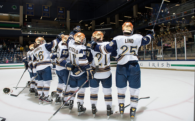 Oct. 20, 2013; The Notre Dame Hockey team sings the Alma Mater after their win over Michigan Tech.<br /> <br /> Photo by Matt Cashore