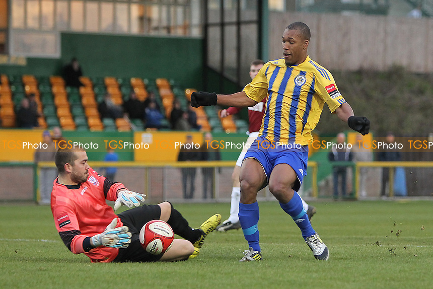 Ryan Imbert in action for Romford - Romford vs Potters Bar Town - Ryman League Division One North Football at Ship Lane, Thurrock FC - 03/11/12 - MANDATORY CREDIT: Gavin Ellis/TGSPHOTO - Self billing applies where appropriate - 0845 094 6026 - contact@tgsphoto.co.uk - NO UNPAID USE.