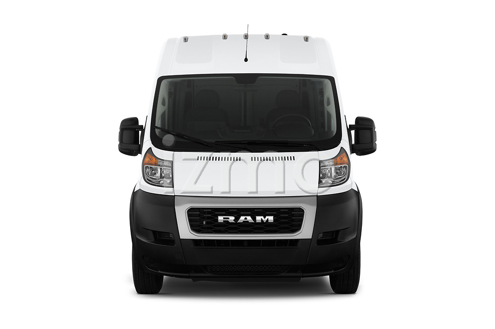 Car photography straight front view of a 2019 Ram Promaster Base 3 Door Cargo Van