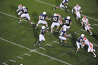 27 September 2008:  Penn State QB Daryll Clark (17) passes from a perfect pocket formed by offensive linemen: Gerald Cadogan (76), Rich Ohrnberger (64), A.Q. Shipley (57), Stefen Wisniewski (61), and Dennis Landolt (73).  The Penn State Nittany Lions defeated the Illinois Fighting Illini 38-24 September 27, 2008 at Beaver Stadium in State College, PA..